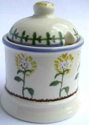 Brixton Pottery 1-Piece Stoneware Sunflower Jam Pot, Yellow ECP DESIGN LTD FLY7396