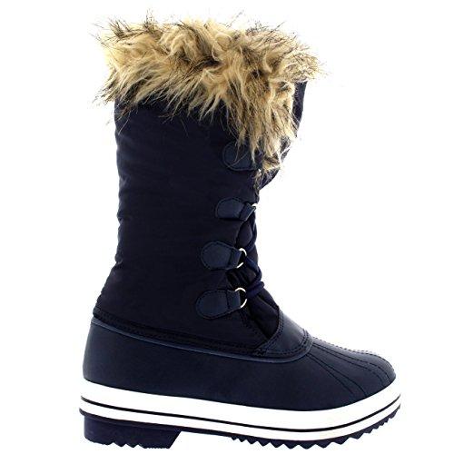 Polar Producten Dames Nylon Warme Eend Regen Sneeuw Buiten Lange Winter Regenlaarzen Marine
