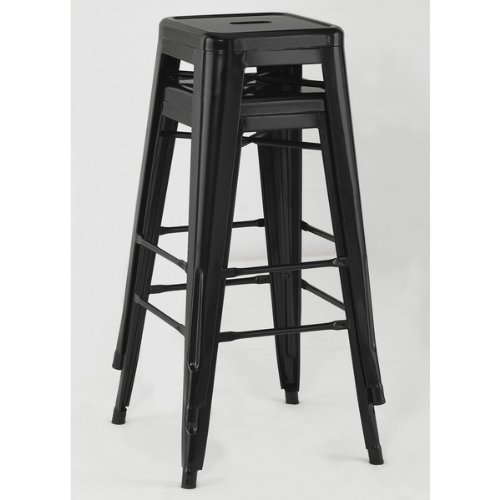 galleon tabouret 30 inch black metal bar stools set of 2. Black Bedroom Furniture Sets. Home Design Ideas