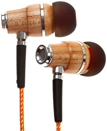 Symphonized NRG Premium Genuine Wood In-ear Noise-isolating Headphones with Mic (Orange Stripe)