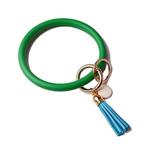 (L&N Rainbery PU Leather O Key Chain Circle Tassel Wristlet Keychain for Women Girls (Tassel Green))