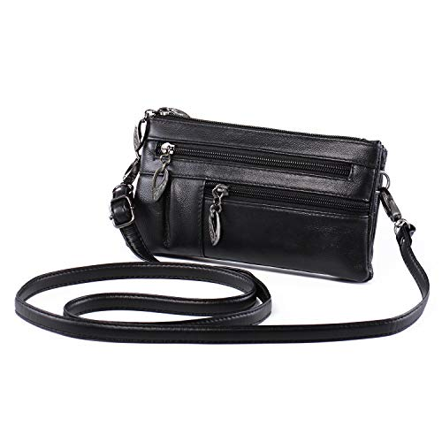 "Small Crossbody Purse Leather Wristlet Wallet Women Clutch Handbag Multi Pocket Cell Phone Bag for 5.5"" Smartphone Cards Bills Katloo -"