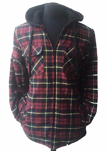 [J700-G-M] Golden Tree Men's Tall Full Zip Hooded Flannel & Sherpa Lined Long Sleeve Soft Fabric Warm Hoodie Jacket (G-RED-BLACK)