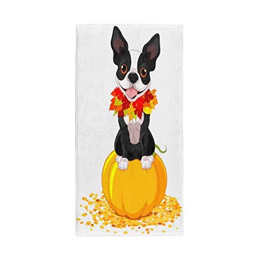 Pinbeam Bath Towel Dog Boston Terrier Sits on Pumpkin Halloween Cartoon Towel Beach Towel ()