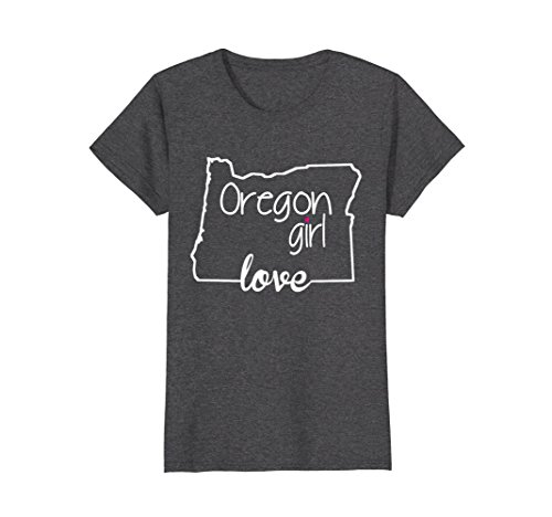 Womens Oregon Girl Tshirt I Love Oregon State Home Tee Small Dark Heather