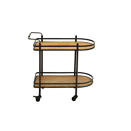 Metal Wood Bar Cart | This Stylish Cart is Constructed with iron and Wood - Brown
