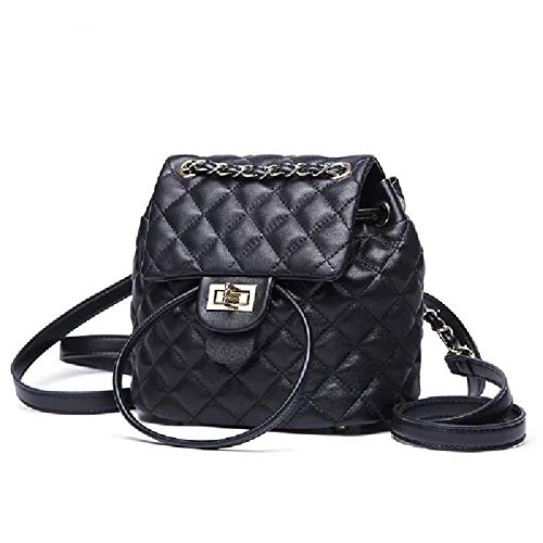 Black Quilted Leather Mini - Women Fashion Small Black Quilted Backpack Travel Casual Drawstring Bucket Bag