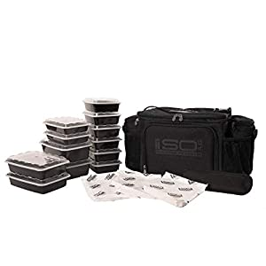 6 Meal Prep Bag Kit – Insulated Lunch Bag Cooler with 12 Reusable Meal Prep Containers, 3 Ice Packs & Shoulder Strap (Blackout)