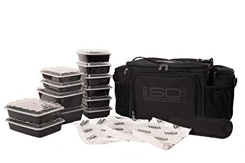 - ISOBAG 6 Meal Prep bag - Large Insulated Meal Prep Lunch Box With 12 Containers, 3 Ice Packs & Shoulder Strap (Blackout) MADE IN USA