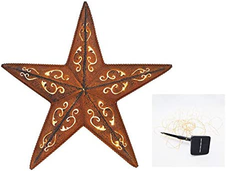 SOLAR LIGHTED RUSTIC LACY METAL BARN STAR 24″