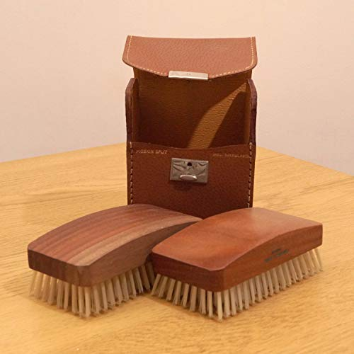 Restored by UKARETRO Grooming Set - 2 Brushes in a Leather case || Vintage Small Travel kit || Made in England || Pigskin Split case