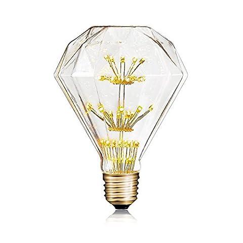 Awon 2W/3W A19/G95/ST64/G95 Diamond E26 Base 110-130V DIMMABLE Edison Style Vintage Decorative Firework LED Filament Bulbs for Indoor Outdoor Pendant Light (G95 - Diamond Style Light