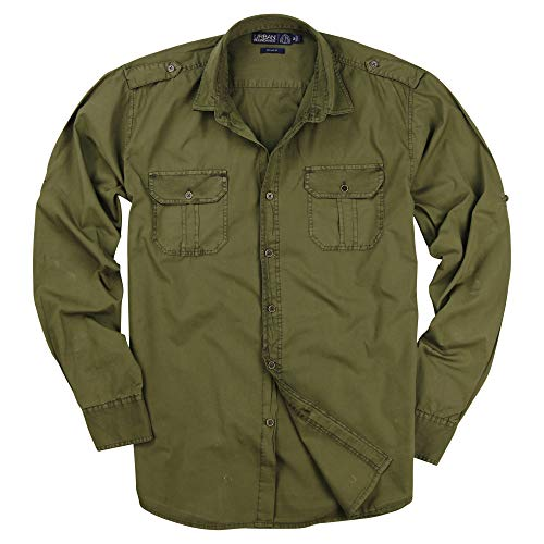 Urban Boundaries Men's Garment Dyed 100% Cotton Military Style Long Sleeve Shirt (Olive, ()