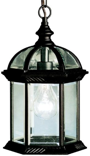 Kichler 9835BK Barrie Outdoor Pendant 1-Light, Black - 13.5 in H x 8 in W; 4 lb Requires (1) A19 bulb, not included Black finish with Clear Beveled glass - patio, outdoor-lights, outdoor-decor - 41Pk1zMZ8dL -