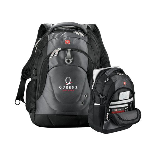 Queens College Wenger Swiss Army Tech Charcoal Compu Backpack 'Official Logo' by CollegeFanGear