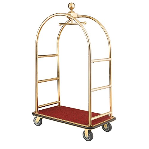 Gold Stainless Steel Bellman Cart Curved Uprights 6