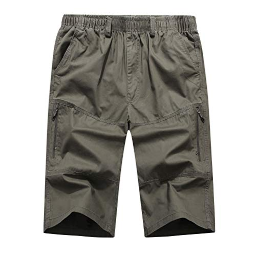 Men's Summer Casual Pure Color Loose Multi-Pocket Beach Calf-Length Sport Pants, Mmnote Army Green