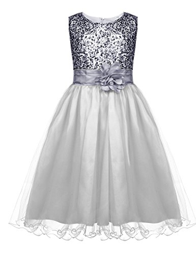 Hotouch Sparkly Sequin Tulle Flower Girls Christmas Holiday Party Dress Pageant Wedding Prom Silver 8-9years