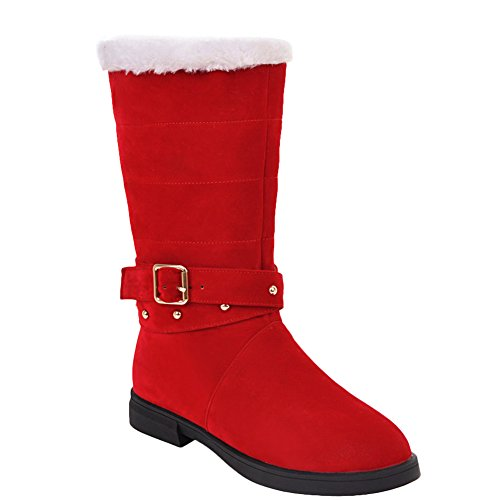 Latasa Womens Monk Strap Flat Mid Calf Boots Red Dl4X13ybP