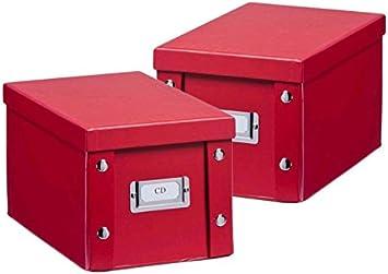 2 x ZELLER CD BOX con tapa roja para 20 CD y caja de almacenaje Caja de nuevo: Amazon.es: Bricolaje y herramientas