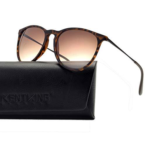 (Vintage Round Sunglasses Women Scratch Resistant Lightweight Retro Erika Style 400UV Protection (Tortoise/Gradient Brown Lens))