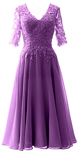 Party Macloth Of Bride Gown Sleeve Mother V Dress Neck Formal With Wedding Women Purple If6g7yYbv