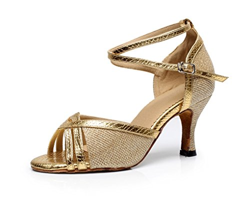 Minishion Mujeres Glitter Peep Toe Zapatos De Baile Latino Oro