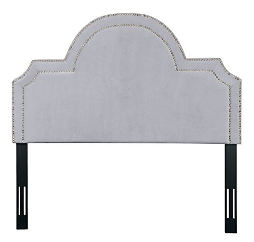 TOV Furniture The Laylah Collection Velvet Upholstered Wood & Metal Headboard, King Size, Gray