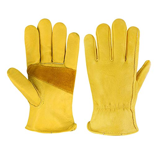 Heavy Duty Industrial Safety Gloves cowhide Leather Gloves for Rubbing Jewelry/Driving/Riding/Gardening/Farm - Extremely Soft and Sweat-absorbent (Medium, Cowhide)