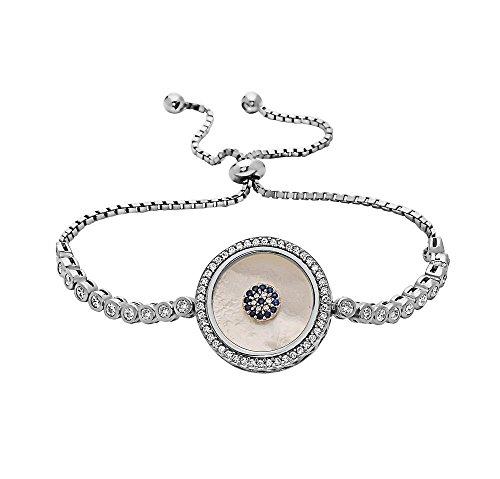 l Evil Eye Tennis Bracelet for Women | 925 Sterling Silver Greek Evil Eve Bracelet with Crystals | Various Styles Available (Round - Gaya) ()