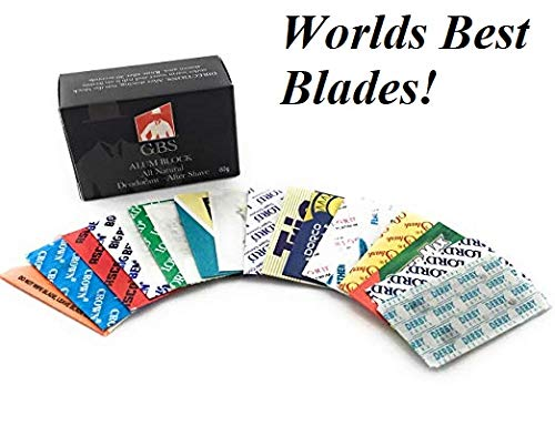 GBS High Quality Double Edge Razor Blades-Sample Pack of 18- Feather, Astra, Derby, Trig, Super Max, Lord, Shark, Treet + GBS Alum Block! Perfect for Barber Shavette Shave Kits!