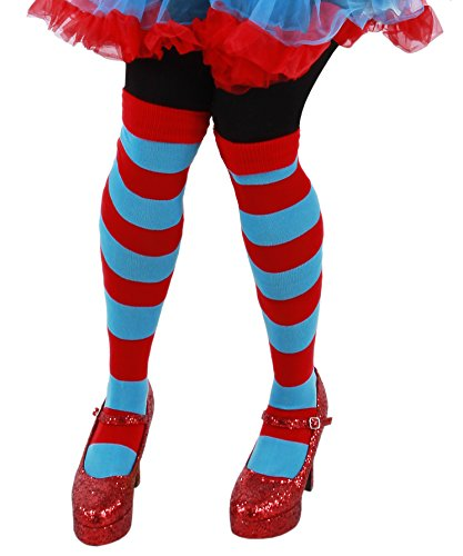 [elope Dr. Seuss Thing 1&2 Striped Knee High Socks for Men and Women] (Thing One Dr Seuss Costume)