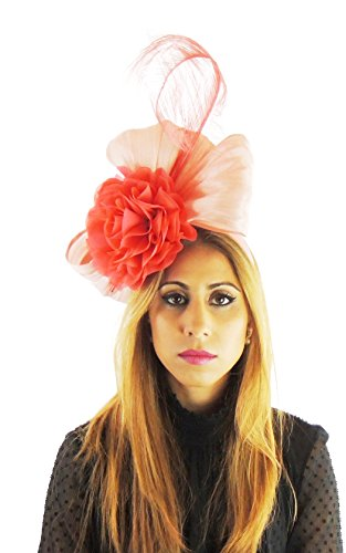Hats By Cressida Silk Sinamay & Silk Flower Elegant Ladies Ascot Wedding Fascinator Hat Coral by Hats By Cressida
