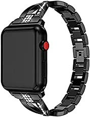 Rhinestone Alloy Band Compatible with iWatch Band Wristband Women Rhinestone Wrist Strap Replacement Bracelet for iWatch Series 6/5/4/3/2/1 (42/44mm,Black)