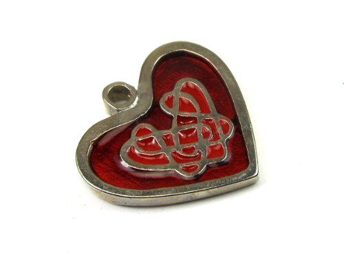 Celtic Heart, for Truth and Morality Enameled Pendant on Cord Necklace