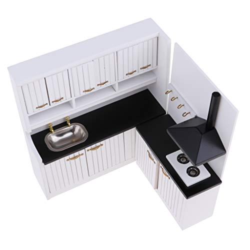 76c58401f30 SHOPUS | Fityle 1/12 Scale White Luxury Wooden Kitchen Cupboard ...