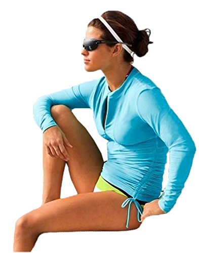 BeAllure Women's Swimming Shirt UV Sun Protection Long-Sleeve Rash Guards Blue M-US6