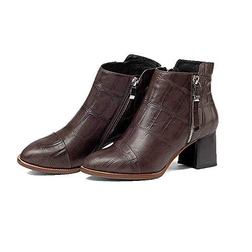 Brown Fermetureséclair Confortable ZPEDY pour Portable Martin Chaussures Bottes Hauts Femmes Talons Mode Latérales qHFS7Wqw8