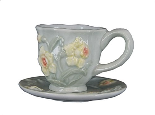Collectible Mini Porcelain Cup & Saucer by Russ