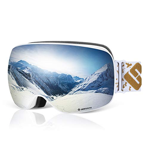 SH HORVATH Ski Snowboard Goggles, Super Anti-Fog UV Protection Windproof Scratch Resistant Mirrored Coated Lens with Quick Change Lens System for Men Women Youth (Snowboard Goggles Von Zipper)
