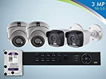 Gawker 3MP TVI 4 Camera Surveillance Kit 1TB HDD 2 Bullets 2 Turret 4CH DVR 4 Cables and 4 Power adaptors