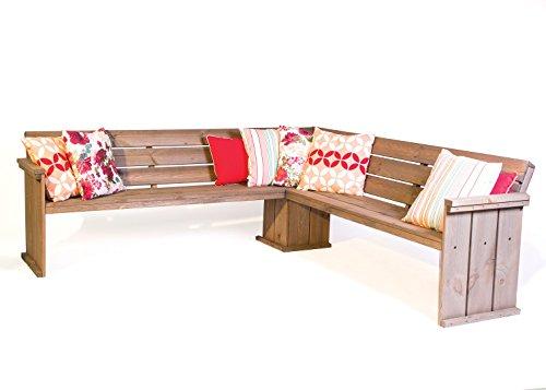 Danish Design Eckbank 210 cm, Gerüstholz Eckbank Garten, Bauholz Eckbank grey wash gefärbt