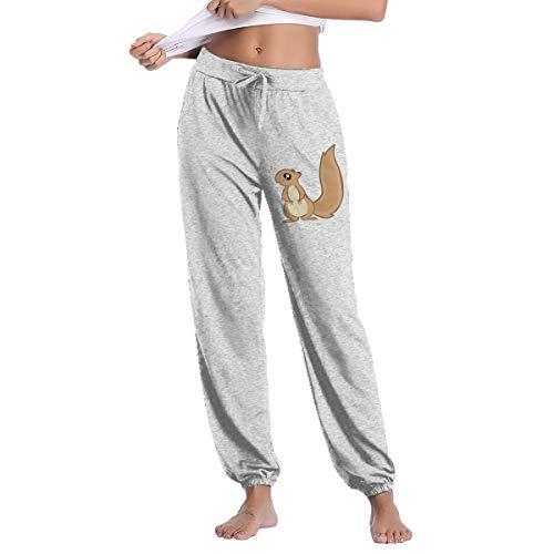 Womens Squirrels Sweatpant Casual Tie Waist Hip Hop Slim Fit Track Pants Gray