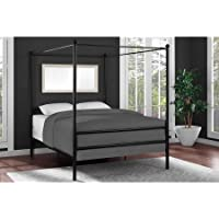Modern Design Canopy Bed Made of Metal Full in Black