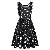 Euone Dress Clearance, Woman Summer Casual Dress Clearance Pentagram Star Print Tank Summer Drsses Pleated Swing Sleeveless Sundress O-Neck Daily Brief