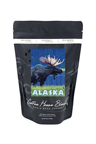 Alaska - Moonlight Moose (8oz Whole Bean Small Batch Artisan Coffee - Bold & Strong Medium Dark Roast w/ Artwork) Moonlight Moose