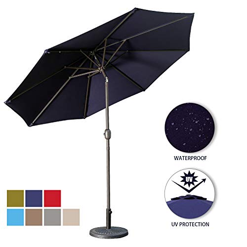 - Aok Garden 9 Feet Outdoor Market Patio Umbrella with Push Button Tilt and Crank Lift Ventilation,8 Sturdy Ribs Non-Fading Sunshade,Navy Blue