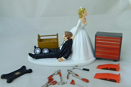 Wedding Reception Party Shop Garage Mechanic tool grease Cake Topper by Custom Design Wedding Supplies by Suzanne (Image #1)