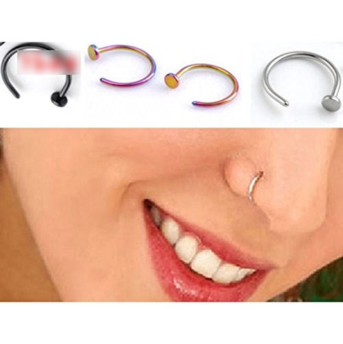 Salesland 5 Pcs Unisex Nose Open Hoop Ring Earring Stainless Steel Nose Stud Nose Ring