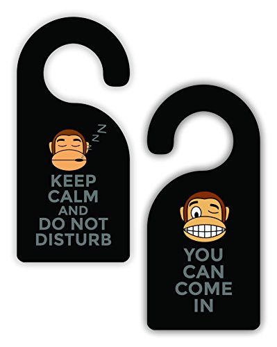 - Max Wilder Keep Calm and Do Not Disturb - You Can Come in Now - Monkey Emoticon - Novelty Unisex Room Door Sign Hanger - Double-Sided - Hard Plastic - Glossy Finish